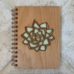 Wooden cover succulent blank journal